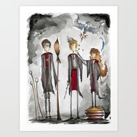potter Art Prints featuring Potter Love by Jena Sinclair