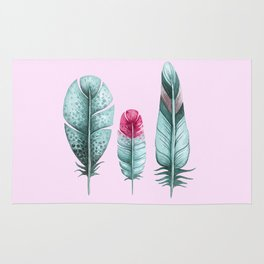 Watercolor feathers (pink) Rug