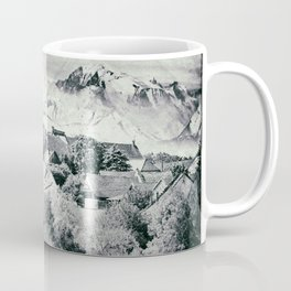 Old French village in countryside Mont Blanc mountains vintage styled Coffee Mug