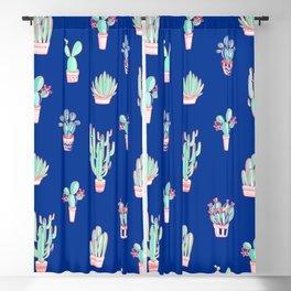 Little cactus pattern - Princess Blue Blackout Curtain