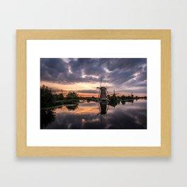 Windmills at sunset Framed Art Print