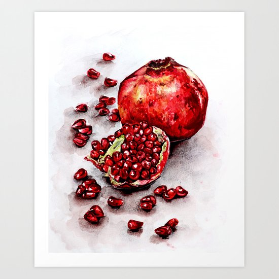 Red pomegranate watercolor art painting by annabelka