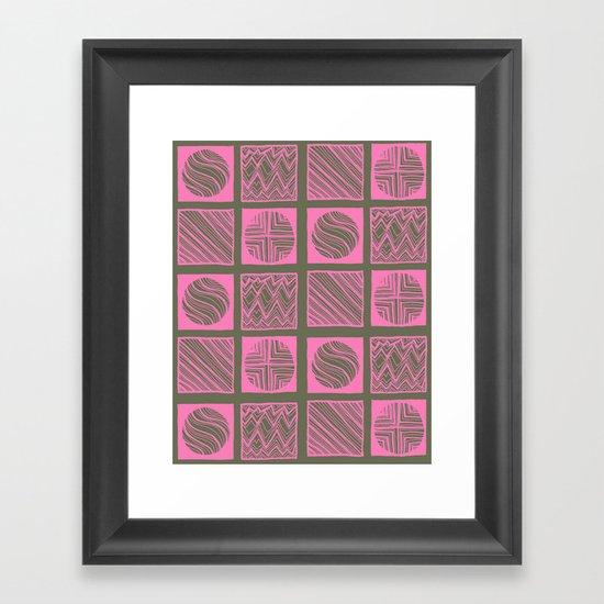 Green Squares Framed Art Print