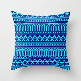 Mountain Stripe Kilim in Electric Aqua Blue + Navy Throw Pillow