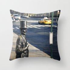 Abe's Bus Stop Throw Pillow