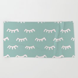 Mint Sleeping Eyes Of Wisdom - Pattern - Mix & Match With Simplicity Of Life Beach Towel