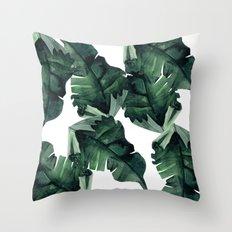 Banana Leaves Pattern Green Throw Pillow
