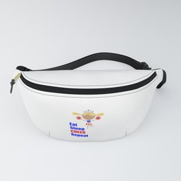 Cheerleader and Pom Poms with Text Eat Sleep Cheer Text Fanny Pack