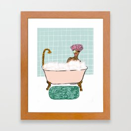 Bathtub Cheetah Framed Art Print