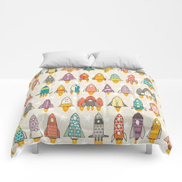 retro rockets eggshell Comforters