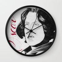 oscar wilde Wall Clocks featuring Oscar by beecharly