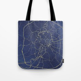 Rome Blue and Gold Street Map Tote Bag