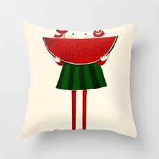Melone girl Throw Pillow