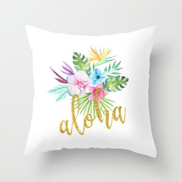 Hawaiian multicolored floral bouquet with faux gold aloha brush script Throw Pillow