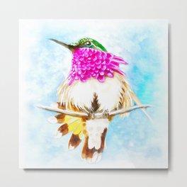 Hummingbird Inky Metal Print