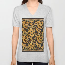 Watercolor golden baroque pattern with golden chain, rococo ornament on a black background. Rich luxury print Unisex V-Neck