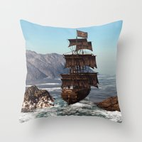 pirate ship Throw Pillows featuring Pirate Ship by Simone Gatterwe
