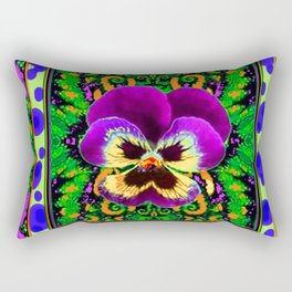 Modern Purple Pansy Organic Green Art Rectangular Pillow