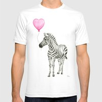 Zebra with Balloon Animal Watercolor Whimsical Animals White Mens Fitted Tee MEDIUM