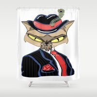 gangster Shower Curtains featuring Gangster Kitty by J&C Creations