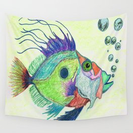 Funky Fish Art - By Sharon Cummings Wall Tapestry