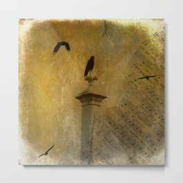 Musical Crows Metal Print