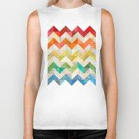 quilt Biker Tanks featuring Chevron Rainbow Quilt by Rachel Caldwell