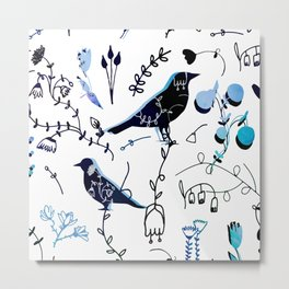 Chinoiserie White blue Paint #homedecor Metal Print