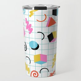 Clutch - memphis 80s style retro throwback cubes geometric triangles 1980's pattern Travel Mug