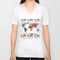 map of the world V-neck T-shirts featuring map by mark ashkenazi