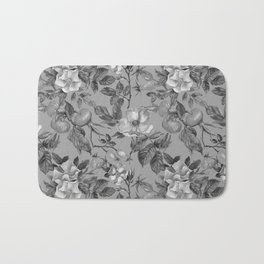 Vintage hand painted black gray watercolor roses floral Bath Mat