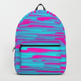 Running luxury light blue scribble of art waves and pink highlights. Backpack
