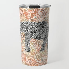 Tribal Paisley Elephant Colorful Henna Floral Pattern Travel Mug
