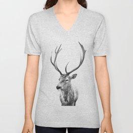 Deer Print, Black and white photo print Unisex V-Neck