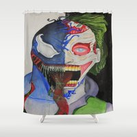 venom Shower Curtains featuring Joker venom by Jorgenson Art Syndicate
