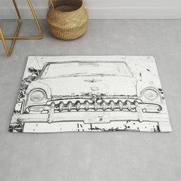 Cool Vintage car sketch art design Rug