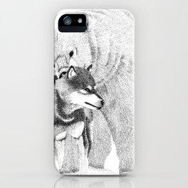 Eskimo dog and Polar bear pointillism illustration iPhone Case