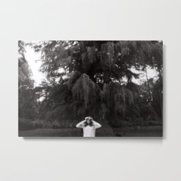 Girl black and white Metal Print