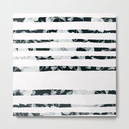 Black white hand painted stripes floral Metal Print
