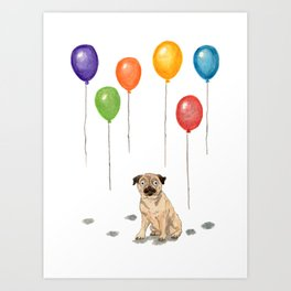 Pug with balloons Art Print