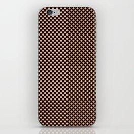 Black and Peach Cobbler Polka Dots iPhone Skin