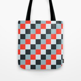 Stainless steel knife - Pixel patten in light gray , light blue and red Tote Bag
