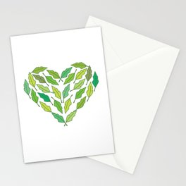 Love nature! Heart shape with green leaves. Stationery Cards
