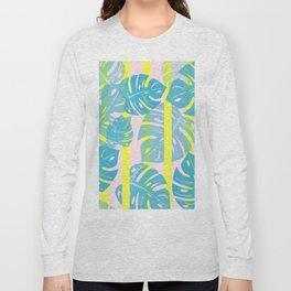 Linocut Monstera Neon Long Sleeve T-shirt