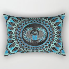 Egyptian Scarab Beetle - Gold and Blue glass Rectangular Pillow