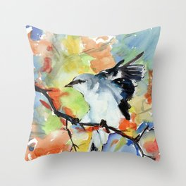 Shrike in Colors Throw Pillow