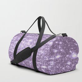 Lilac Galaxy Sparkle Stars Duffle Bag