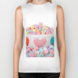 Bowl of Valentine's Day Candy Hearts Biker Tank