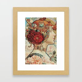 Lady With Flowers - Alphonse Mucha Framed Art Print