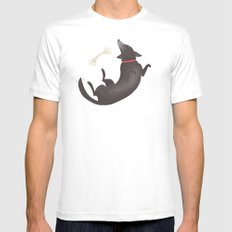 Happy Dog White MEDIUM Mens Fitted Tee